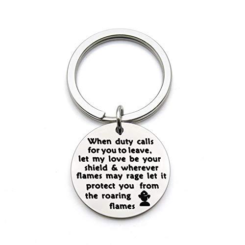 (FEELMEM Firefighter Gift Let My Love Be Your Shield Fireman Kerychain Gifts for Firemen Boyfriend Graduation Gifts Husband (Silver))