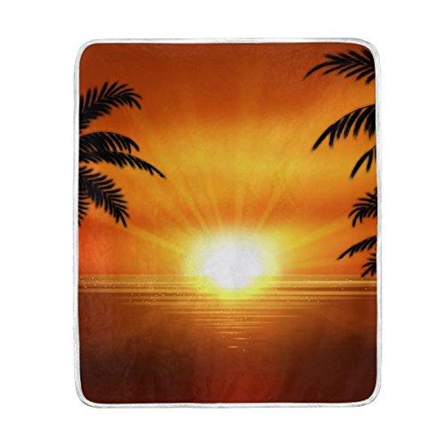 U LIFE Sunset Ocean Palm Trees Soft Fleece Throw Blanket Bla