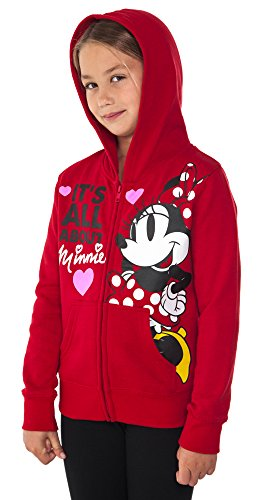 Disney Minnie Mouse Girl's Hoodie Zipper Sweatshirt Print Red (Small (6/6X)) (Red Zipper Sweatshirt)