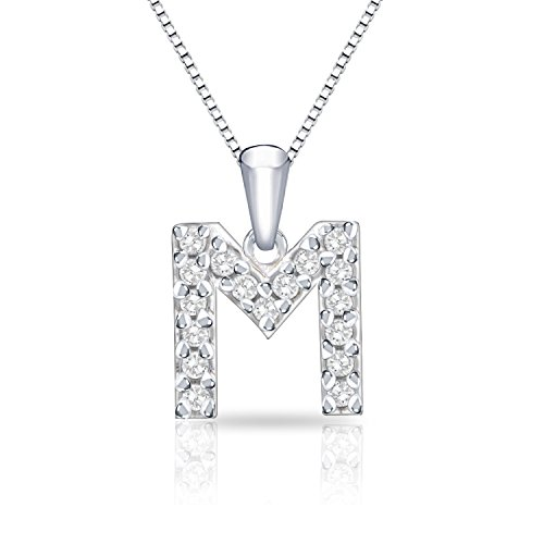 Diamond Wish 14k White Gold Letter M Diamond Initial Pendant Necklace (1/10cttw) 18-inch Box Chain