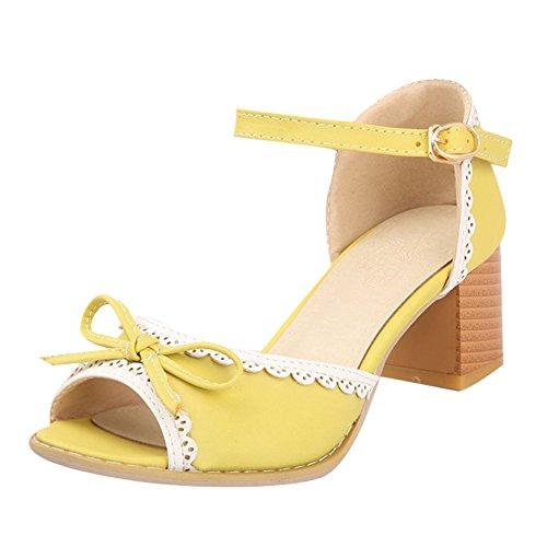 Amarillo Boca Mujere Foot Medio nbsp;Pescado Sandalias Grueso Talón Charm nbsp;De Arcos nxvwx4