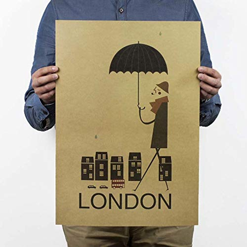 1 piece LAITANG London In The Rain Vintage Poster Kraft Paper Wall Sticker Bar Wall Old Poster Unframed Decorative painting 5135.5 -