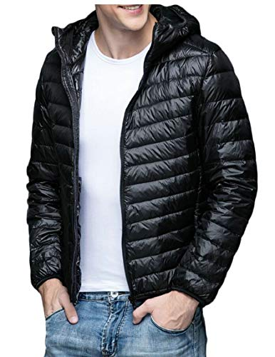Light Men's TTYLLMAO Black Down Jacket Ultra Weight Down Coat Hoodie Packable qYxOdx4A