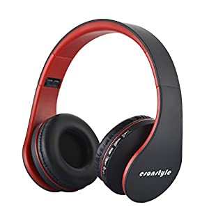 Esonstyle Foldable Wireless Bluetooth Over-ear Stereo Headphone Headset Earphones, Stereo Audio with Hands-free Calling Function and Noise Cancelling Audio Cable Included (black+red)