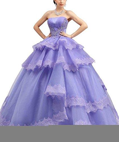 WZY Women's Sweet 16 Organza Appliques Ruffles Quinceanera Dresses 16 US Purple