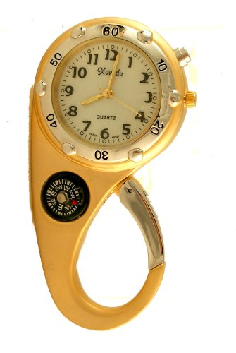 Clip on Watch Bag Pocket Watch W/compass and Back Light Gold Tone, Watch Central