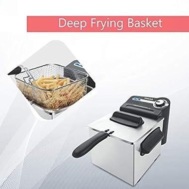 Inalsa Professional 2 Fryer, 18/8 Steel, 2 Liter, Digital Timer, 1700 W, Detachable, Dishwasher Safe, European Energy Efficiency Standard, Stainless Steel, (Grey) 10