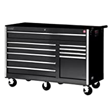 International VRB-5610BK 56-Inch 10 Drawer Black Tool Cabinet with Heavy Duty Ball Bearing Slides