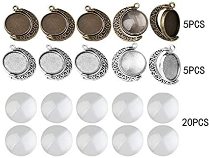 5 Sets Alloy Bronze Tone Bezel Tray And 10mm Glass Cobachon