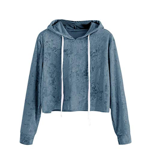 Clearance! Women Short Hoodie Sweatshirt Daoroka Ladies Long Sleeve Velvet O-Neck Solid Hooded Jumper Pullover Blouse Fashion Autumn Winter Warm Causal Loose Tops T-Shirt