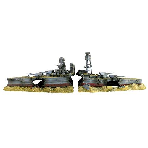 Underwater Treasures 65253 Sunken Battleship Aquarium Ornament