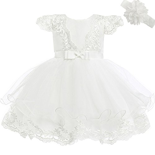 Moon Kitty Baby Girls Embroidery Flower Dress Lace Christening Baptism Gown for Baby Girl Ivory White