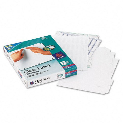 Avery : Index Maker Clear Label Punched Dividers, Five-Tab, Letter, White, 25 Sets -:- Sold as 2 Packs of - 25 - / - Total of 50 Each