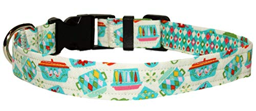 Blue Vintage Dishes Dog Collar - Retro Kitchen Collar - 100% Cotton - Size Large Adjusts 14 to 21 Inches - 1 Inch Wide
