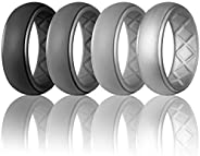 Egnaro Silicone Wedding Ring for Men, Particularly Breathable Mens' Rubber Wedding Bands, Size 8 9 10 11 1