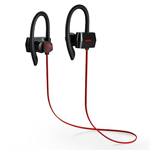 Premium Bluetooth Headphones, AiSpeed Sports Wireless Earbuds with Sweatproof, AptX, Secure fit, IPX4, Bass Noise Cancelling, Zippered Case, 7 hours Playtime with Mic for All Bluetooth Device -Black