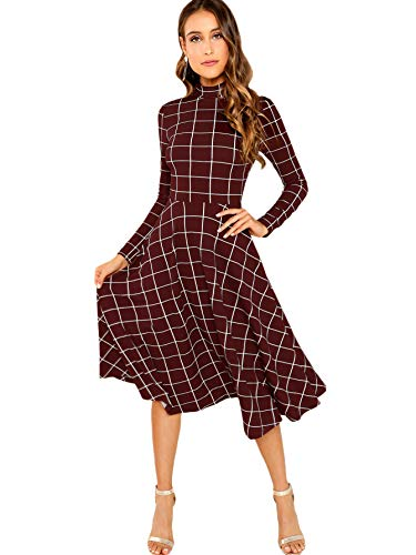 Floerns Women's High Neck Plaid Fit & Flare Midi Dress Burgundy S