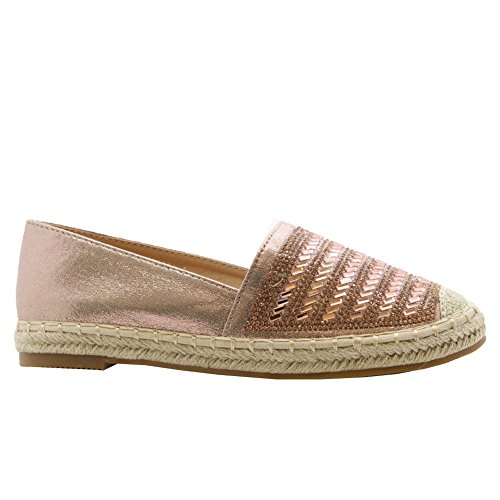 Ladies Women Flat Slip On Rock Studs Espadrilles Casual Sandals Pumps Shoes Size 3-8 Champagne 1 QLhkKkE1R