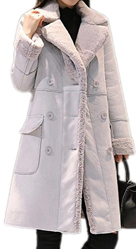 hicken Double Breasted With Velvet Faux Suede Leather Coat Light Gray XL ()