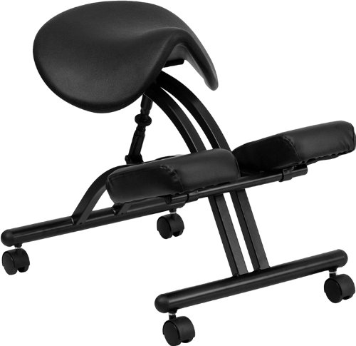 Emma + Oliver Ergonomic Kneeling Office Chair with Black Saddle Seat by Emma + Oliver