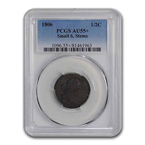 1806 Draped Bust Half Cent AU-55+ PCGS (Small 6, Stems) Cent AU-55 PCGS
