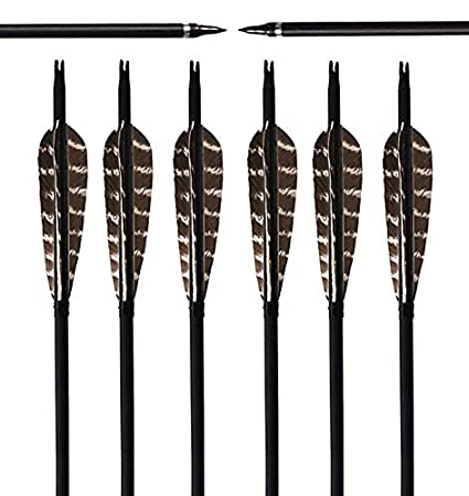 YGU 31Inch Carbon Targeting Practice Arrows Turkey Feather Fletching Arrows with Removanle Tips for Recurve Traditional Long Bow