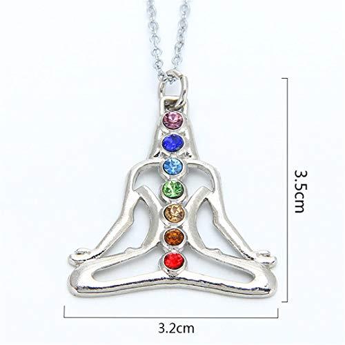 7 Chakra Stones Reiki Healing Crystal Rhinestone Point Chakra Pendant Tree Of Life Pendant Angel Shape Jewelry Necklace Rhodium Plated ()