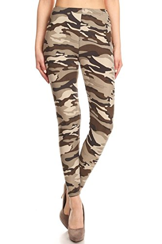 (Leggings Mania Women's Plus Camouflage Print High Waist Leggings Taupe Multi, Plus One Size Fits Most (12-22), Taupe Camo)