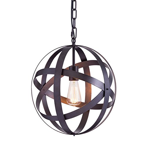 Metal Spherical Ceiling Lamp in Rust Finish