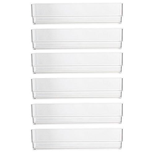 Clear Plastic Desk Drawer Organizers 6'' x 3'' x 2'' l Set of 6 by STORi