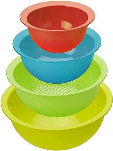 41I86UzYqTL Rotho Caruba 4er-Set bestehend aus 3 Schüsseln und 1 Sieb, Kunststoff (PP) BPA-frei, mehrfarbig, 30,0 x 30,0 x 13,0 cm