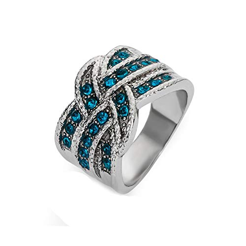 ihuoshang 1 Pcs Full Blue Crystal Big Wedding Rings for Women Romantic Ring Femme Silver Color Ring Female Jewelry,7