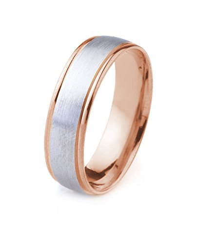14k Gold Men's Two Tone Comfort-Fit Plain Wedding Band with Satin Finish and Cut Polished Edges (6mm)
