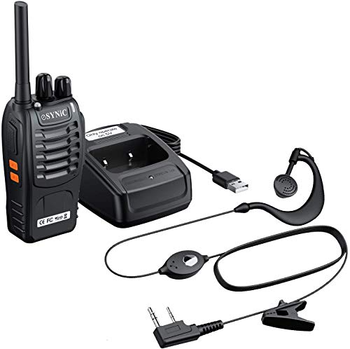 eSynic 1 Pcs Walkie Talkies-2 Way Radio Long Range Walkie Talkie with Original Earpieces Professional 16CH Single Band…