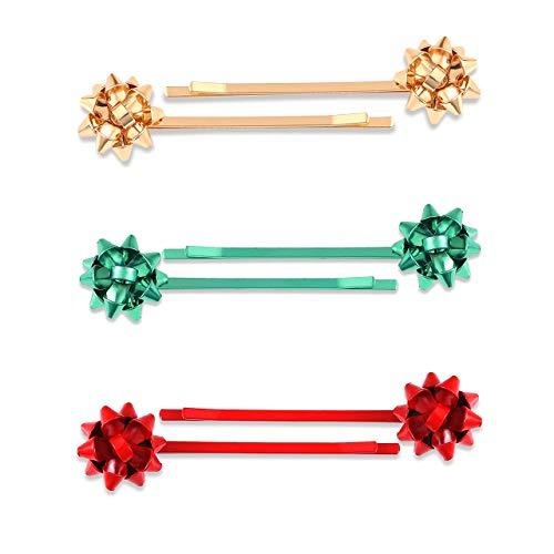 Christmas Gift Bow Hair Clip Hairpin Headdress Hair Bows Alligator Clips Cute Hair Accessories For Women 3pairs (gold red green)