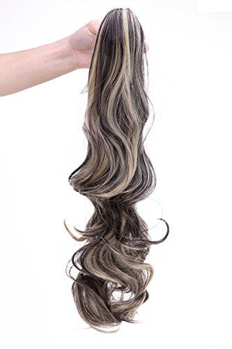 Claw Jaw Ponytail Big Wave Straight Clip in Pony Tail Hair Extension Extensions Real Natural Synthetic Hairpieces Hairpice for women Ladyt(24 inches-curly, dark brown & ash blonde)