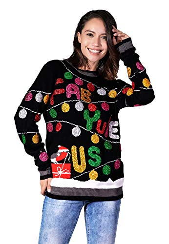 Women's Ugly Christmas Sweater Funny Glitter Lights with Robin Pullover - Retro Glam it Up, Medium