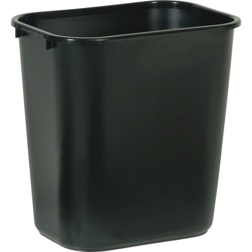 Rubbermaid Commercial FG295600BLA Plastic Deskside Wastebasket, 28-1/8-quart, Black (Plastic Waste Bins)