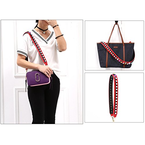 for Replacement Girls Leather Handbags Strap Strap Wide Purse Umily Women Red Style Guitar 90cm Crossbody Multicolor Colorful pS1TOnx