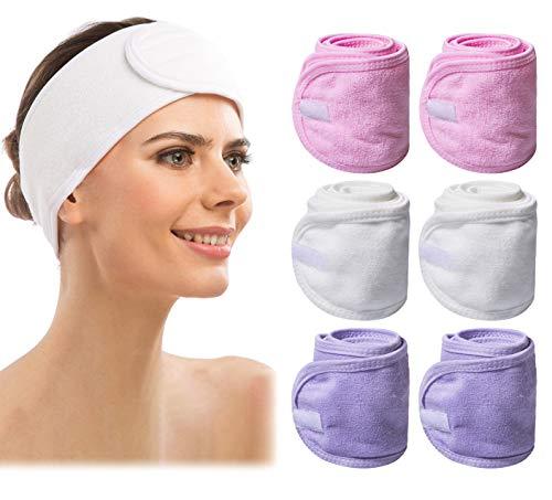 6 Count Spa Facial Headband, Makeup Headband Elastic Terry Cloth Spa Headband Stretch Towel Washable Headband for Washing Face, 3 Colors