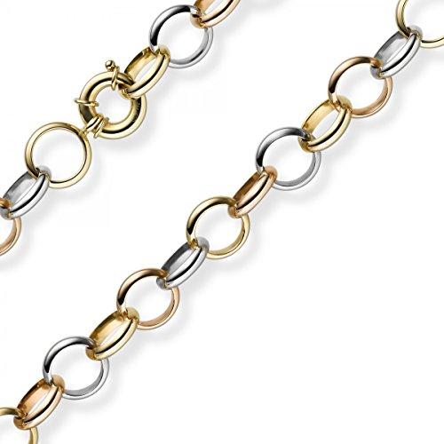 13mm Bracelet Imagination Ringel Chaîne en or 585or jaune/blanc/rouge tricolore 19cm