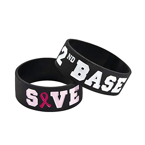 Fun Express - Save Second Base Big Bands - Jewelry - Bracelets - Rubber Bracelets - 12 Pieces