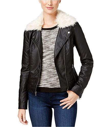 Celebrity Pink Women's Jr Faux-Fur-Collar Faux-Leather Jacket Black White XL (Black Leather Jacket With White Fur Collar)