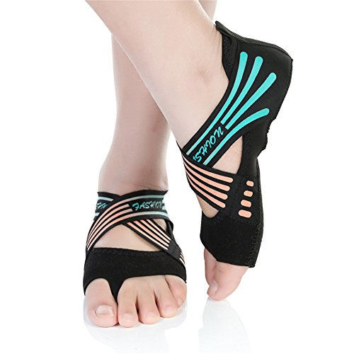 Barerun Women's Bellarina Shoes Half Toe Grip Non-Slip for Ballet Yoga Pilates Barre (10.5-11 B(M) US, Black Green)