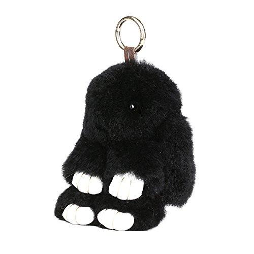 SCIONE Cute Easter Rabbit Bunny Fur Doll Key Chain for Women Bag Charms (Black)