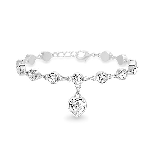 Devin Rose Womens Heart Charm Bracelet Made With Swarovski Crystals in Rhodium Plated Brass ()