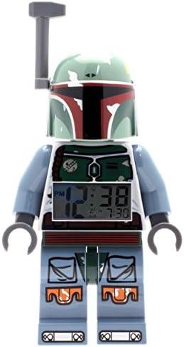 Lego Star Wars Boba Fett Kids Minifigure Light Up Alarm Clock Green Blue Plastic 9.5 inches Tall LCD Display boy Girl Official