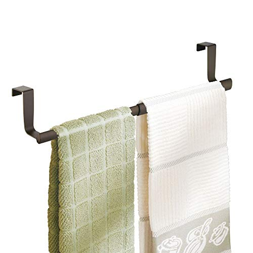 Holder Flush Mount Wall Door (mDesign Adjustable, Expandable Kitchen Over Cabinet Strong Steel Towel Bar - Hang on Inside or Outside of Doors, Storage for Hand, Dish, and Tea Towels - 9.25