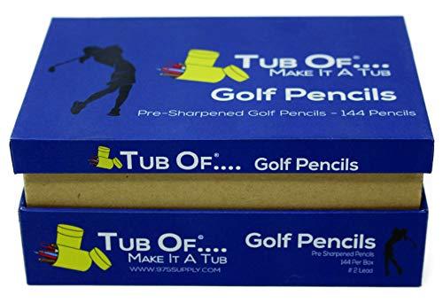 Golf Pencils, Tub Of Brand, Pre-Sharpened, Hexagonal Barrel, Yellow Finish, 144 Pencils (Blue Box) (Barrel Pencils Hexagonal)