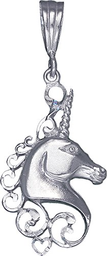 Sterling Silver Unicorn Charm Pendant Necklace Diamond Cut Finish with Chain (Without Chain) (Walmart Gold Necklace)
